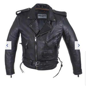 Boys classic biker leather motorcycle jacket